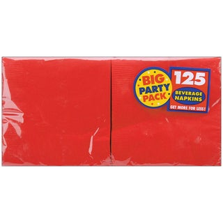 Big Party Pack Beverage Napkins 5inX5in 125/PkgApple Red