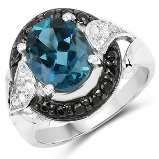 Malaika Sterling Silver 4 1/4ct London Blue Topaz Black Spinel and White Topaz Ring