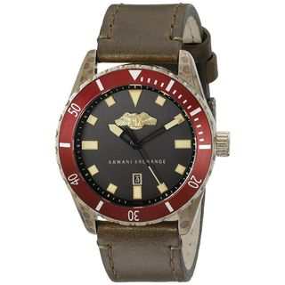 Armani Exchange Men's AX1712 'Cover' Brown Leather Watch