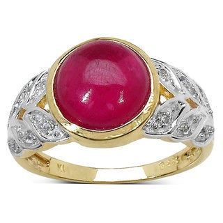 Malaika Two-tone Sterling Silver 5 1/8ct Ruby and White Topaz Ring
