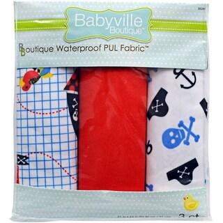 Babyville PUL Waterproof Diaper Fabric 21inX24in Cuts 3/PkgLittle Pirate, Skulls & Red
