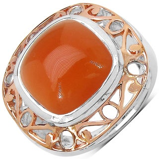 Malaika Two-tone Sterling Silver 12 4/5ct Peach Moonstone Ring