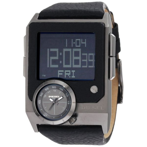 fd6ac6b59 Shop Diesel Men's DZ7231 'SBA Blackout' Digital Black Leather Watch ...