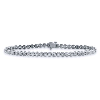 Auriya 14k Gold 3ct TDW Round Cut Diamond Tennis Bracelet