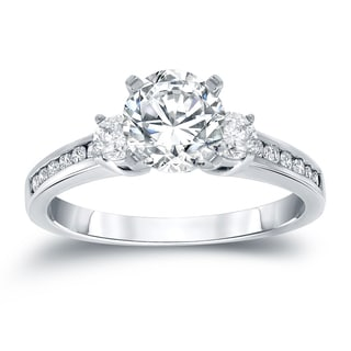 Auriya 14k White Gold 1ct TDW Round Diamond Three Stone Ring (H-I, SI2-SI3)