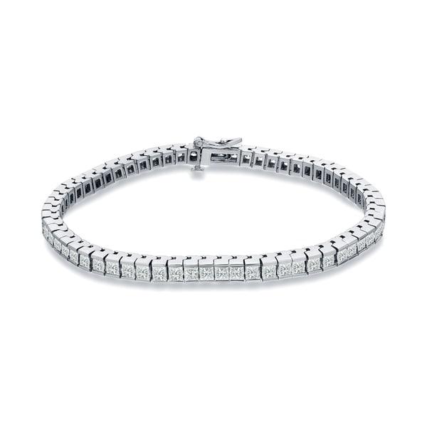 38096b212cff Auriya 14k White Gold 3ct TDW Princess-Cut Channel-Set Diamond Tennis  Bracelet