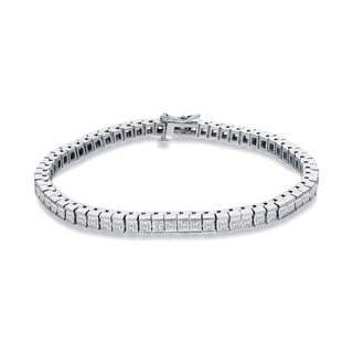 Auriya 14k White Gold 3ct TDW Princess Cut Diamonds Tennis Link Bracelet (I-J, SI1-SI2)
