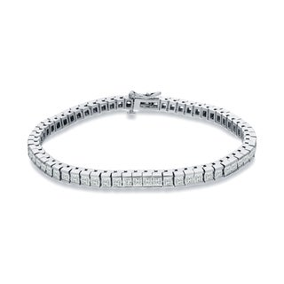 Auriya 14k White Gold 3ct TDW Princess Cut Diamonds Tennis Link Bracelet