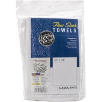 Stitch 'Em Up Flour Sack Towels 33inX38in 2/PkgWhite