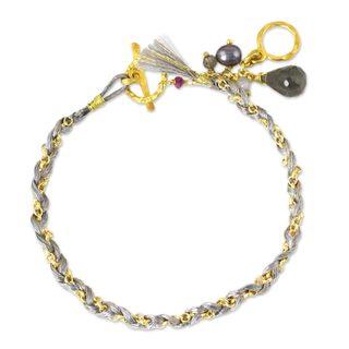 Gold Overlay 'Grey Balance' Multi-gem Pearl Bracelet (5mm) Thailand)