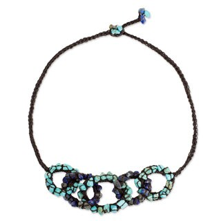 Handmade Lapis Lazuli Calcite 'Chain Reaction' Necklace (Thailand)
