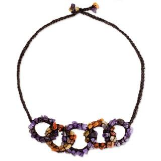Handmade Amethyst Carnelian 'Chain Reaction' Necklace (Thailand)