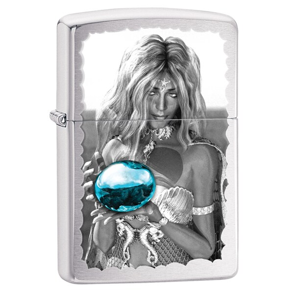 Zippo Mermaid And Orb Brushed Chrome Windproof Lighter