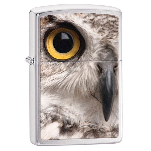 Zippo Owl Face Brushed Chrome Windproof Lighter