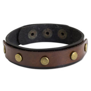Handcrafted Leather 'Rustic Elements' Bracelet (Thailand)