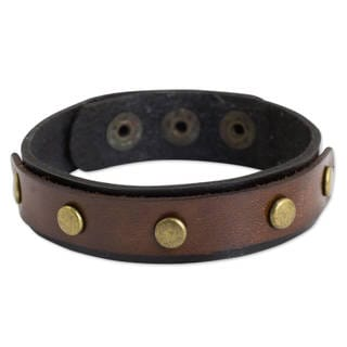 Handmade Leather 'Rustic Elements' Bracelet (Thailand)