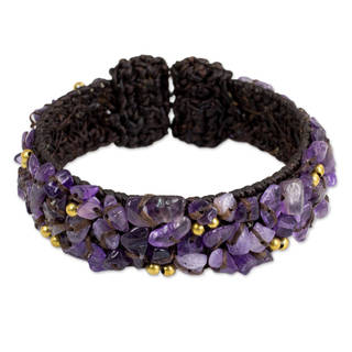 Handmade Brass 'Violet Twilight' Amethyst Bracelet (Thailand)