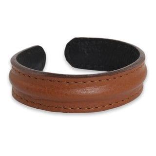 Handmade Men's Leather 'Basic Brown' Bracelet (Thailand)