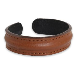 Handmade Men's Leather 'Basic Brown' Bracelet (Thailand)