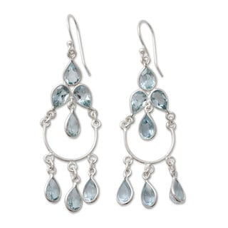 Handcrafted Sterling Silver 'Azure Elegance' Topaz Earrings (India)