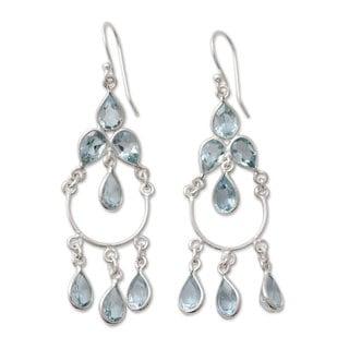 Handmade Sterling Silver 'Azure Elegance' Topaz Earrings (India)