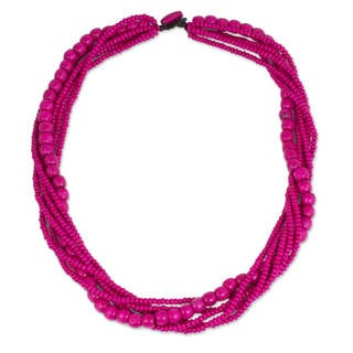 Handmade Littleleaf Boxwood 'Tropical Dance' Necklace (Thailand)