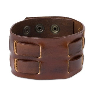 Handmade Leather 'Rugged Weave In Brown' Men's Bracelet (Thailand)