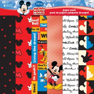 Disney Paper Pack 12inX12in 12 SheetsMickey & Friends|https://ak1.ostkcdn.com/images/products/10561828/P17639794.jpg?impolicy=medium