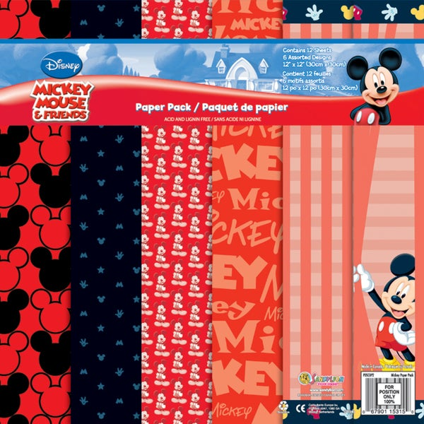 Disney Paper Pack 12inX12in 12 SheetsMickey