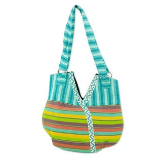 Handcrafted Cotton 'Colors in V' Tote Handbag (Guatemala)
