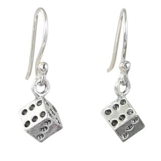 Handcrafted Sterling Silver 'Lucky Dice' Earrings (Thailand)