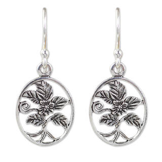 Handcrafted Sterling Silver 'Hollyhocks' Earrings (Thailand)