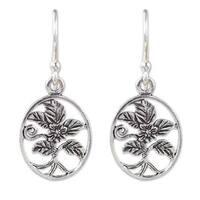 Handmade Sterling Silver 'Hollyhocks' Earrings (Thailand)