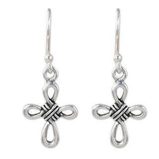 Handcrafted Sterling Silver 'Knotted Cross' Earrings (Thailand)