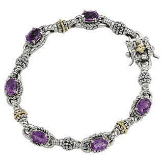 Versil Shey Couture Sterling and 14k Gold 4 3/5ct Amethyst 7.25-inch Bracelet