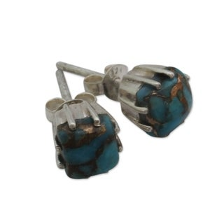 Handmade Square Cut Composite Turquoise Gemstones with Claw Setting of 925 Sterling Silver Womens Post Earrings (India) - Blue