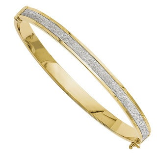 Versil 14k Gold Fancy Glimmer Infused Hinged Bangle