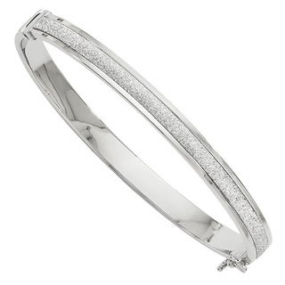 Versil 14k White Gold Fancy Glimmer Infused Hinged Bangle