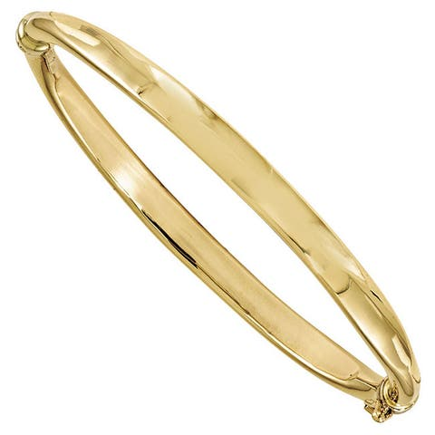 14K Yellow Gold Polished 5.6mm Safety Clasp Hinged Bangle by Versil