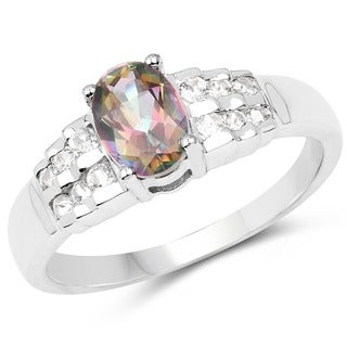 Olivia Leone Sterling Silver 1 1/5ct Mystic Topaz and White Topaz Ring