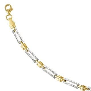 Versil 14k Gold with Rhodium-plating Diamond-cut Bracelet