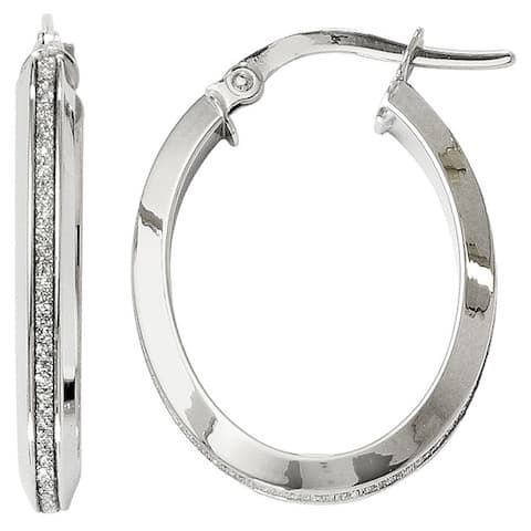 Versil 14 karat White Gold Polished Glimmer Infused Oval Hoop Earrings