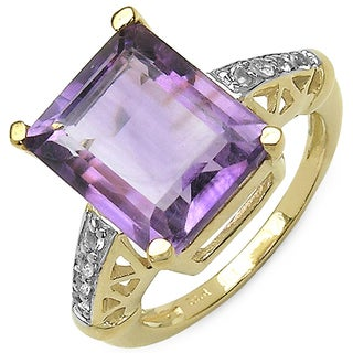 Olivia Leone Goldtone 5 7/8ct Amethyst and White Topaz Ring