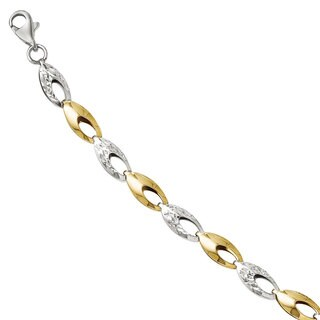 Versil 14k Two-tone Gold Diamond-cut Bracelet
