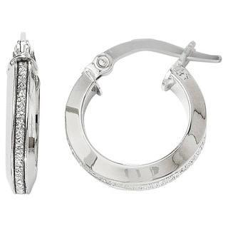 Versil 14k White Gold Polished Glimmer Infused Hoop Earrings
