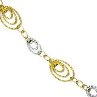 Versil 14k Two-tone Gold Fancy Link Bracelet