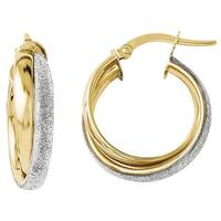 Versil 14k Gold Fancy Glimmer Infused Hoop Earrings