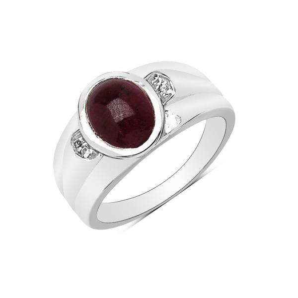 Olivia Leone Silvertone 2 3/4ct Ruby and White Topaz Ring