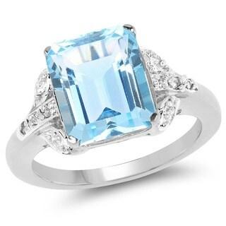 Malaika 3/5ct Blue Topaz and White Topaz Ring