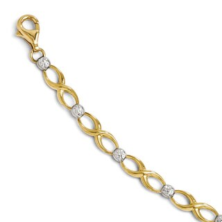 Versil 10k Two-tone Gold Diamond-cut Bracelet